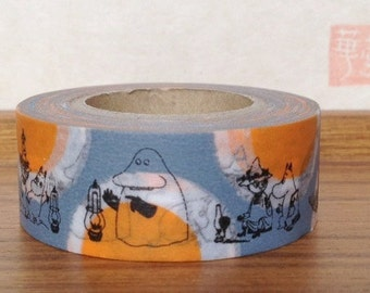 moomin character - washi masking tape - moomin spots -  20mm x 15m - orange and grey - the groke