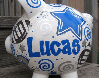 Large-Custom Personalized Piggy Bank-Football