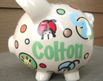 Large-Personalized Piggy Bank-Safari Animals and Dots