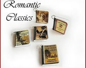 Miniature Book Charms Romantic Classic Inspired Set of Five