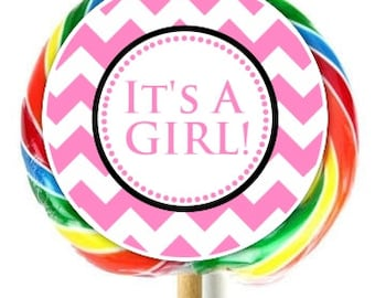 Chevron Baby Shower Lollipop Stickers, It's a Girl Baby Shower Stickers, EXTRA Large Personalized Stickers, Fit on WHIRLY LOLLIPOPS