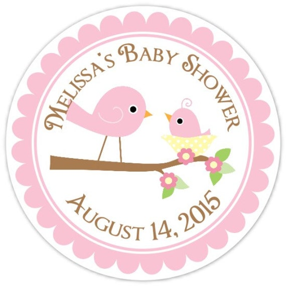 Baby birds baby shower labels mommy and baby bird custom baby for Baby shower label template for favors