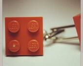 Made from Lego (r) Dark Orange Tile Cufflinks