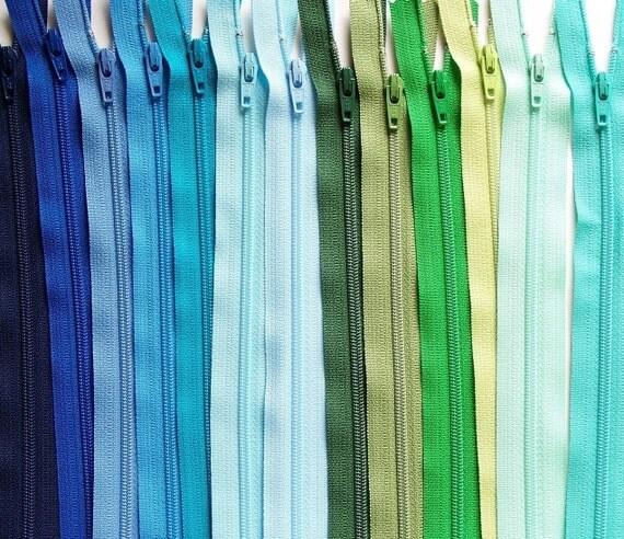 YKK ZIPPERS: Blues and Greens Sampler Pack 12 Inch YKK Zipper Assortment- 13pcs