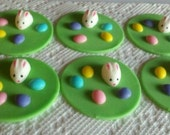 Fondant Easter Bunny And Eggs-Cupcake Toppers-Set Of Six-Bunny Cupcake Decorations