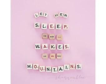 baby girl nursery photograph / sleep, typography, pink, nursery decor, scrabble tiles, quote / let her sleep / 8x10 fine art photo