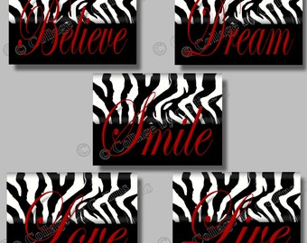 Zebra Print RED Wall Art Decor LOVE Dream LIVE Believe Smile Quotes Dorm Office Teen Bedroom Girls Motivational Pictures Photos Unframed