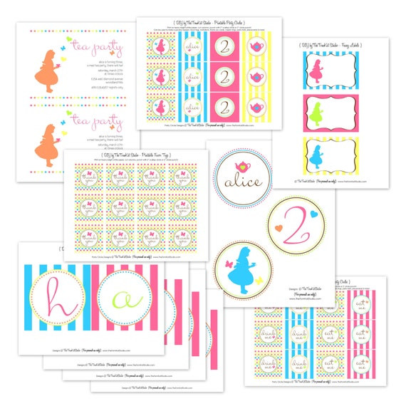 Alice in Wonderland Birthday Party Printable Full Collection by The TomKat Studio