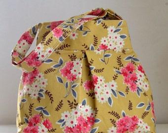 Daisy Bouquet Yellow Pleated Hobo Handbag / Purse - READY TO SHIP