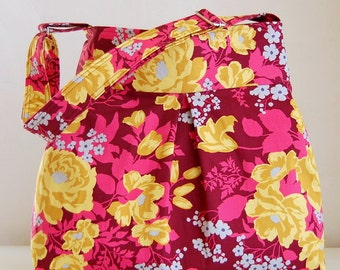 Rose Bouquet Fabric Pleated Hobo Handbag / Purse - READY TO SHIP