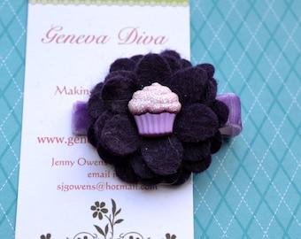 Purple Cupcake 4-Layer Felt Flower Clip