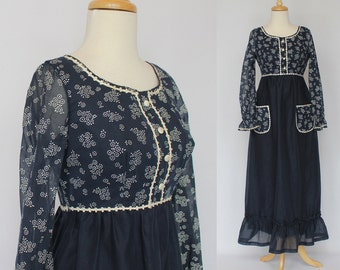 60's Empire Maxi Dress / Floral Prom Gown / Long Sleeves / XSmall