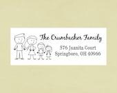 Return address labels, stickers, rectangular--stick family