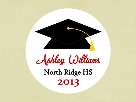 Round Return Address Labels-- Graduation Cap stickers