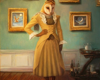 Ms. Moreau,Print, from  Painting By David Joaquin,steampunk,Owl ,animal