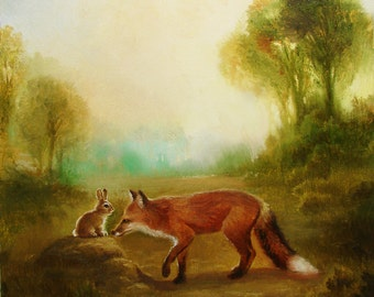Isabella and the Fox, Spring, Easter ,Bunny , Rabbit, Print from Painting,Illustration, Baby Shower Gift, takes on the world