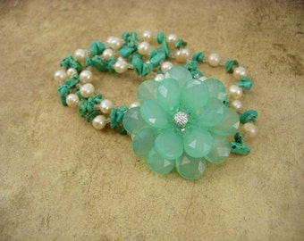 Turquoise and Pearl Necklace with turquoise Flower Brooch