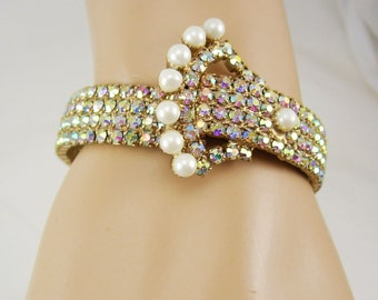 Vintage Statement buckle bracelet over 200 RHINESTONES and earrings Wedding pearls