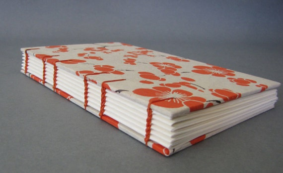 Tall Skinny Journal, Flowers in Orange, Ready To Ship