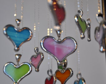 Holiday Sale! Pink Glass Heart Necklace with Sterling Chain