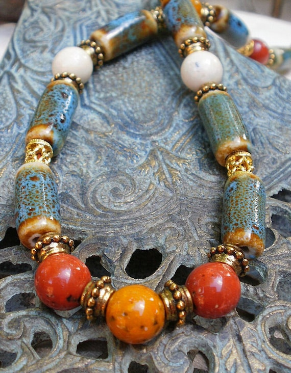 Earth Tones Beaded Necklace, multicolor beads