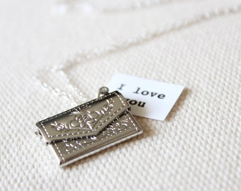 Silver Envelope Locket for Her