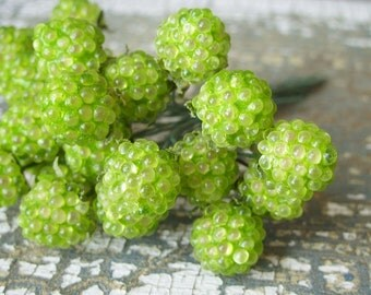 Vintage Millinery Green Raspberry Glass Fruit Picks German 12 Stems