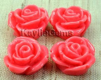 Resin Flower Cab Rose 20mm - Coral Pink - 4pcs
