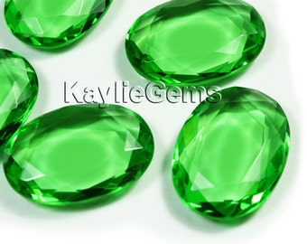 Glass Jewel Oval Flat 18x25mm Double Faceted Table Cut  - Apple Green BG122 - 1 piece