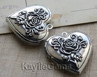 Heart Locket Rose Hand Touched Silver Antique Style 26mm -LKHS-119AS - 2pcs