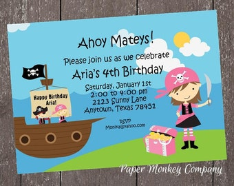 Girl Pirate Birthday Invitation - 1.00 each with envelope