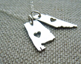 Double Micro State or Country pendant in Sterling Silver Made to Order Pick your States or Countries