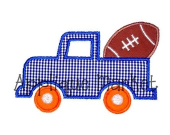 Machine Embroidery Design Applique Truck with Football INSTANT DOWNLOAD