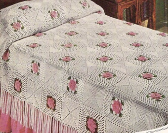 Irish Rose Bedspread Vintage Crochet Pattern 203