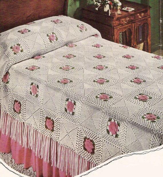 1954 Rose Bedspread Vintage Crochet Pattern 386