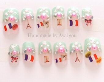 Nails, Paris, French nail, pastel, macaron, kawaii nail, 3D nail, cute nail, deco nail, press on nail, glue on nail, stick on nail, Japanese