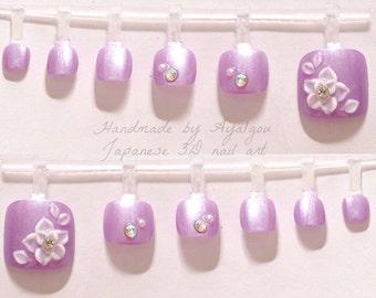 Toe nails, 3D nails, Japanese nail art, lilac, lavender, pastel, summer, floral, decoden, kawaii nails