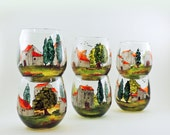 French village - Hand painted glasses - Set of 6 stemless red wine glasses  - Village Provencal collection