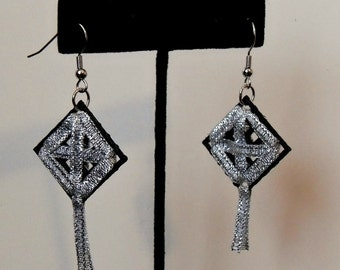 Plastic Canvas Earrings - Black with Silver Ribbon