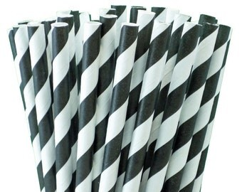 25 Black Striped Paper Straws with Printable Party Flags PDF File