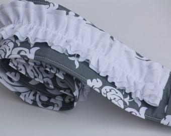 Ruffled Camera Strap Cover - White/ Grey Scroll