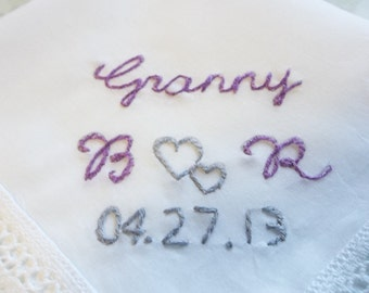 Mother of bride, Grandmother, mother of groom wedding handkerchief, hand embroidered, family wedding gifts, wedding colors welcome, favors