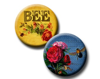 Busy Bee - 1.313 inch circles - Digital collage sheet - For 1 inch Button Machines