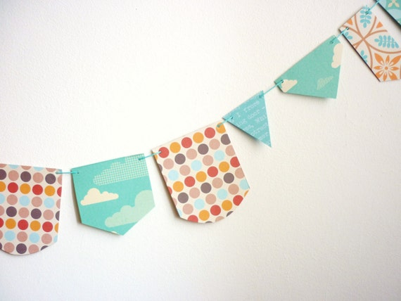 Spring Celebrations Paper garland aqua orange  vintage style