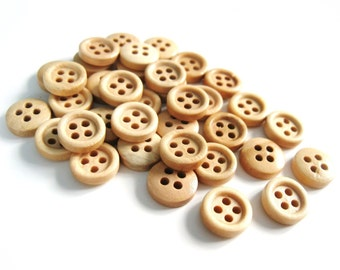 Mini Wood button - Natural 4 Holes Wooden Sewing Buttons 11mm - set of 36 (BB102A)