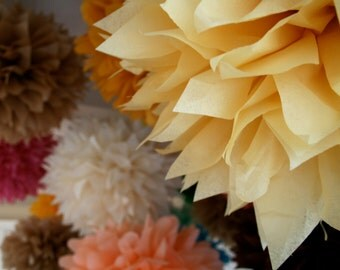 CUSTOM COLORS / 5 tissue paper pom poms / wedding decorations / birthday party decorations / baby shower / diy / bridal shower decorations
