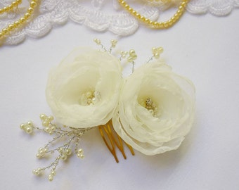 Golden Bridal hair comb, Wedding hair comb, Bridal hair flower, Bridal hair accessories, ivory head piece