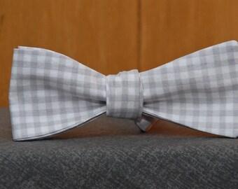 Light Gray Gingham  Bow Tie