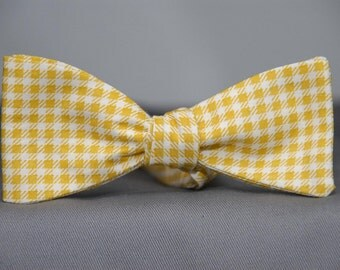 Mustard Yellow and White Gingham  Bow Tie