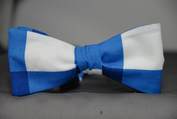 Chunky Gingham in Blue  Bow tie